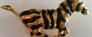Zebra Goldtone & Black Enamel Vintage Pin/Brooch
